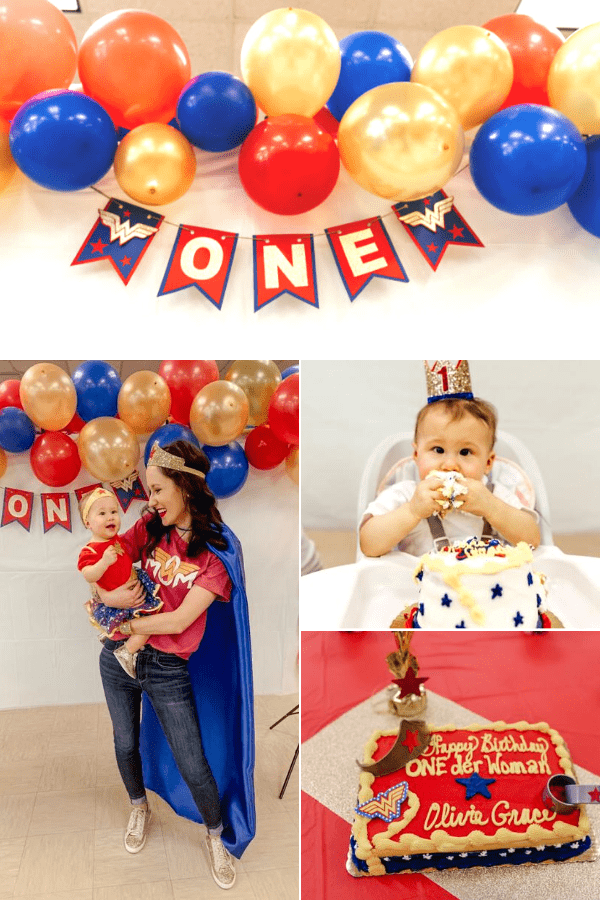 Wonderwoman party ideas for baby's first birthday.
