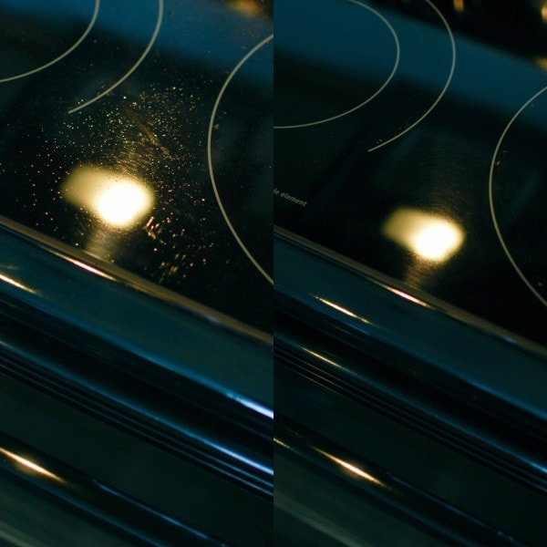 Stove top before and after using ecloth