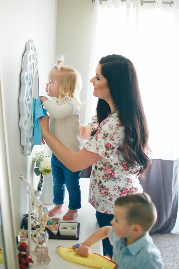 Mother and children clean without harsh household cleaning products.