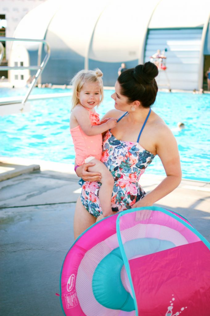 Lifestyle and motherhood blogger Jessica Ashcroft shares how to introduce your toddler to swimming using a baby float!