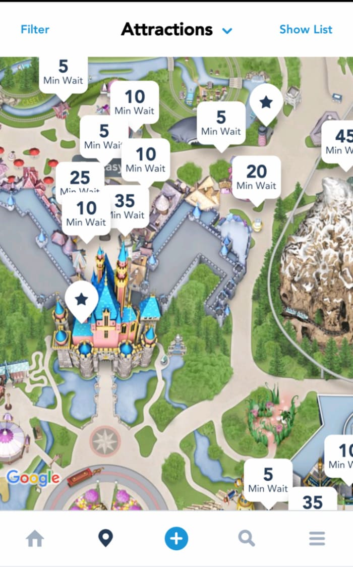 Disneyland app shows ride wait times