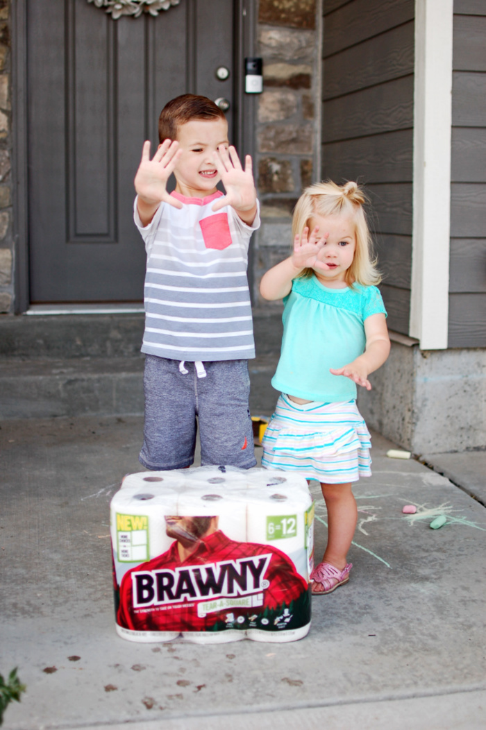 Brawny Tear-A-Square paper towels are great to take outside for messy kids.