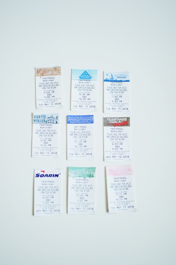 Disneyland fastpass tickets