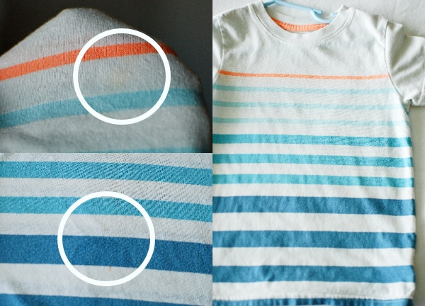 Shirt before and after cleaning stains.
