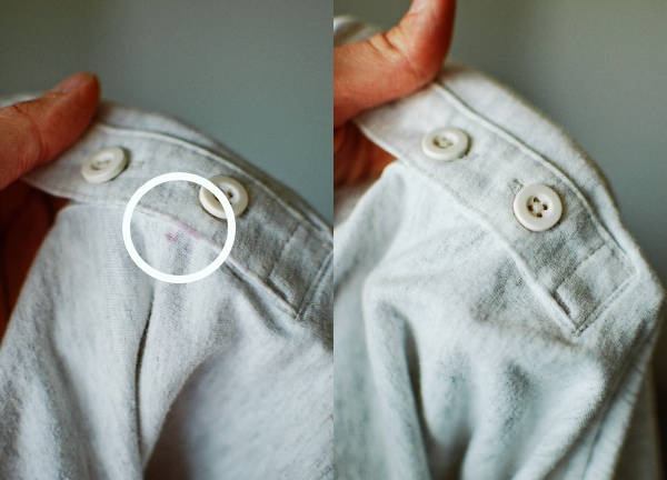Stained shirt before and after using best stain removers for berry stains