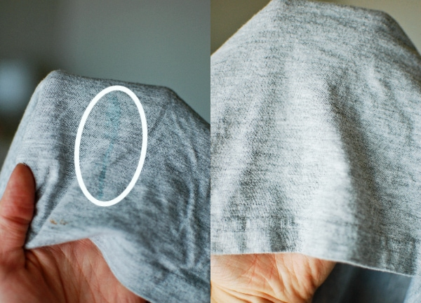 Stained shirt before and after using best stain removers for food dye stains