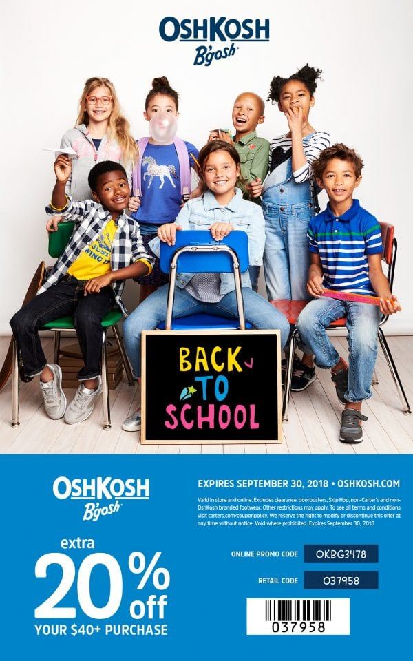 This Oshkosh promo code will save you tons on back to school clothes!