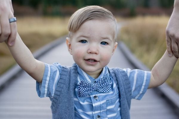 Toddler boy wears blue and grey during fall family photos.