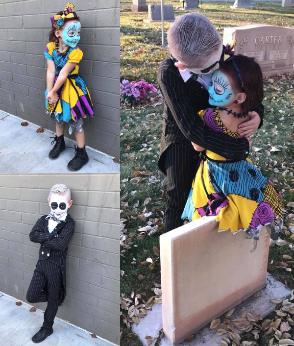 Collage of brother and sister wearing Nightmare Before Christmas Halloween costumes.
