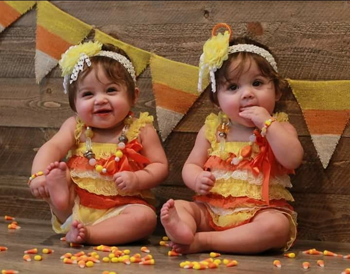 Candy corn twins baby Halloween costumes