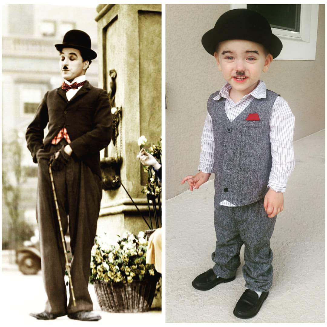 Collage of Charlie Chaplin and toddler boy wearing Charlie Chaplin Halloween costume.