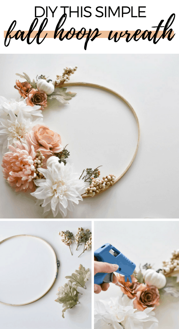 I show you how to make a DIY modern fall wreath using faux fall flowers and a wooden embroidery hoop! It's easy and affordable and takes about 20 minutes!