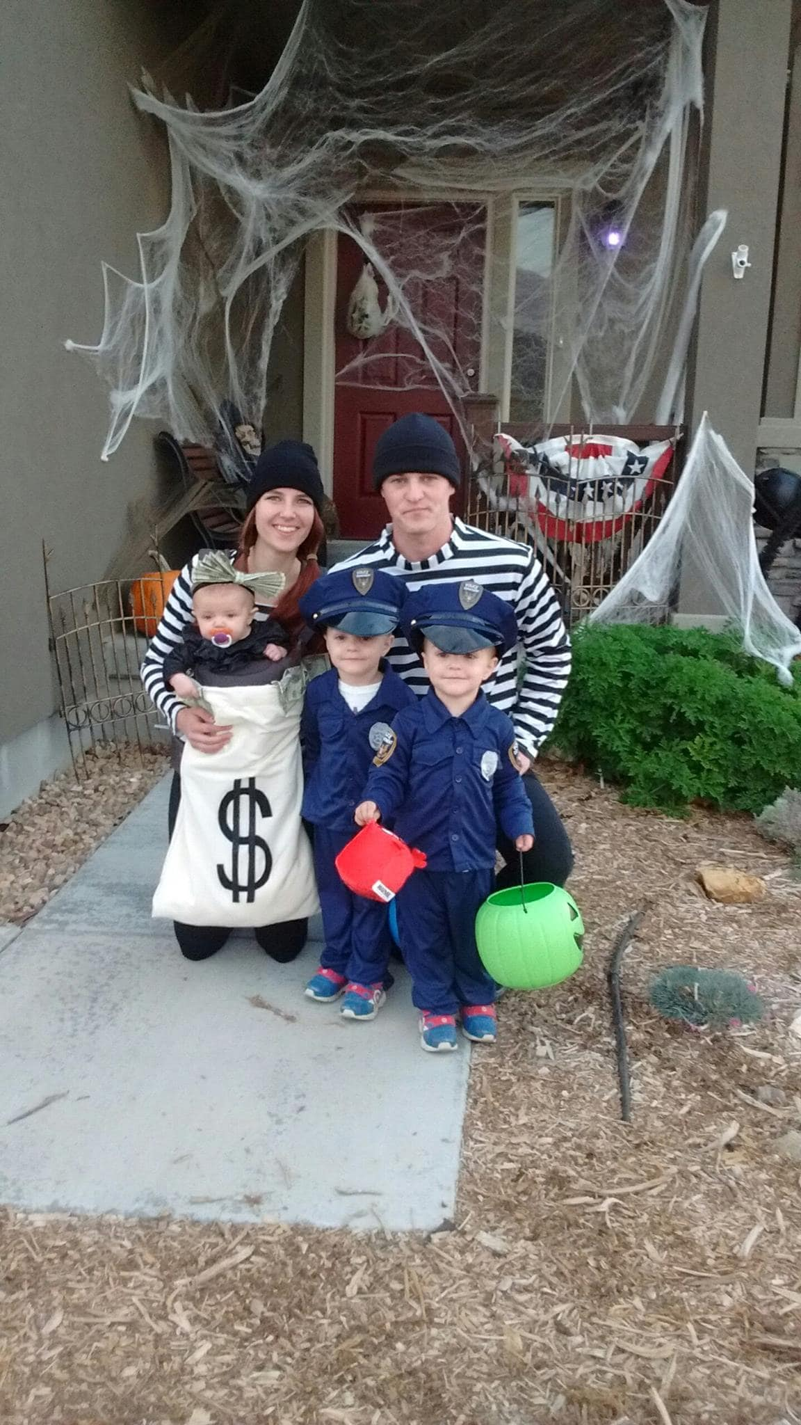DIY cops and robbers family Halloween costumes