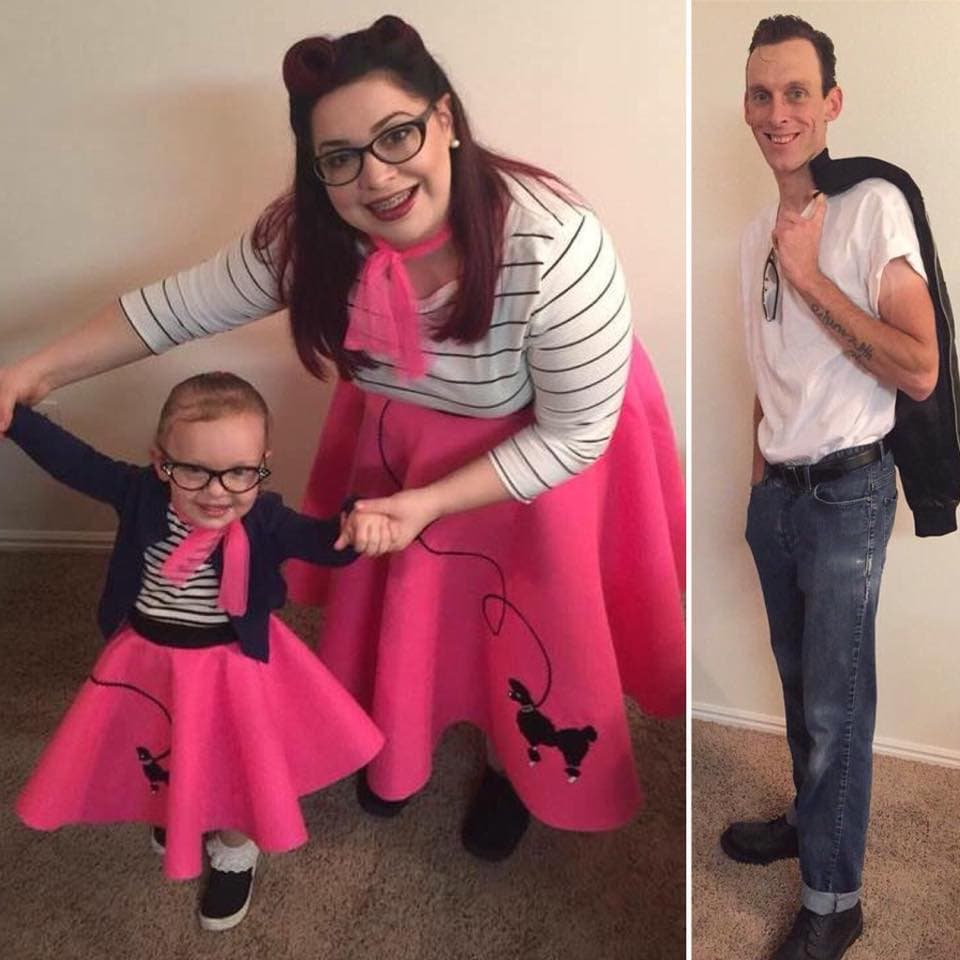 Collage of family wearing 50's Halloween costumes.
