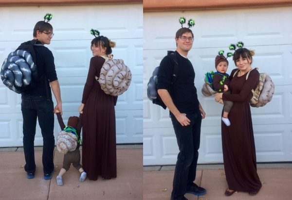 Collage of family wearing DIY snail Halloween costumes standing in front of garage door.