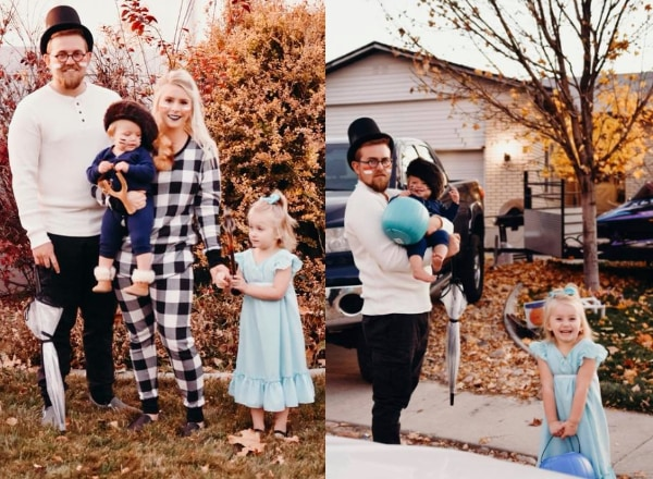 Collage of family wearing Peter Pan Halloween costumes.