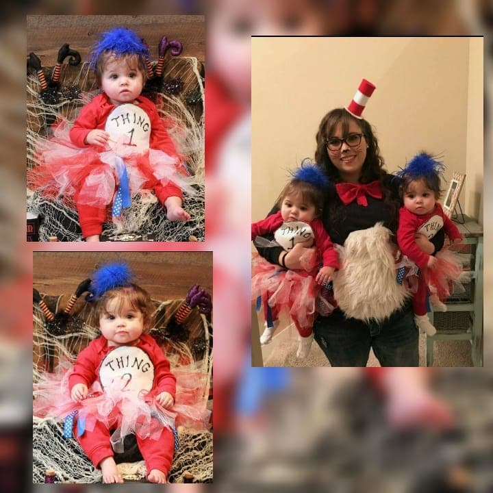 Collage of family dressed in Cat in the Hat Halloween costumes.