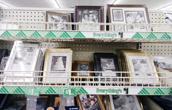 Several picture frames in store home decor section.