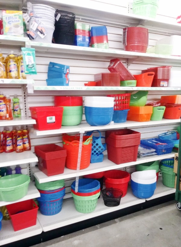 Storage and organization bins at the dollar store.
