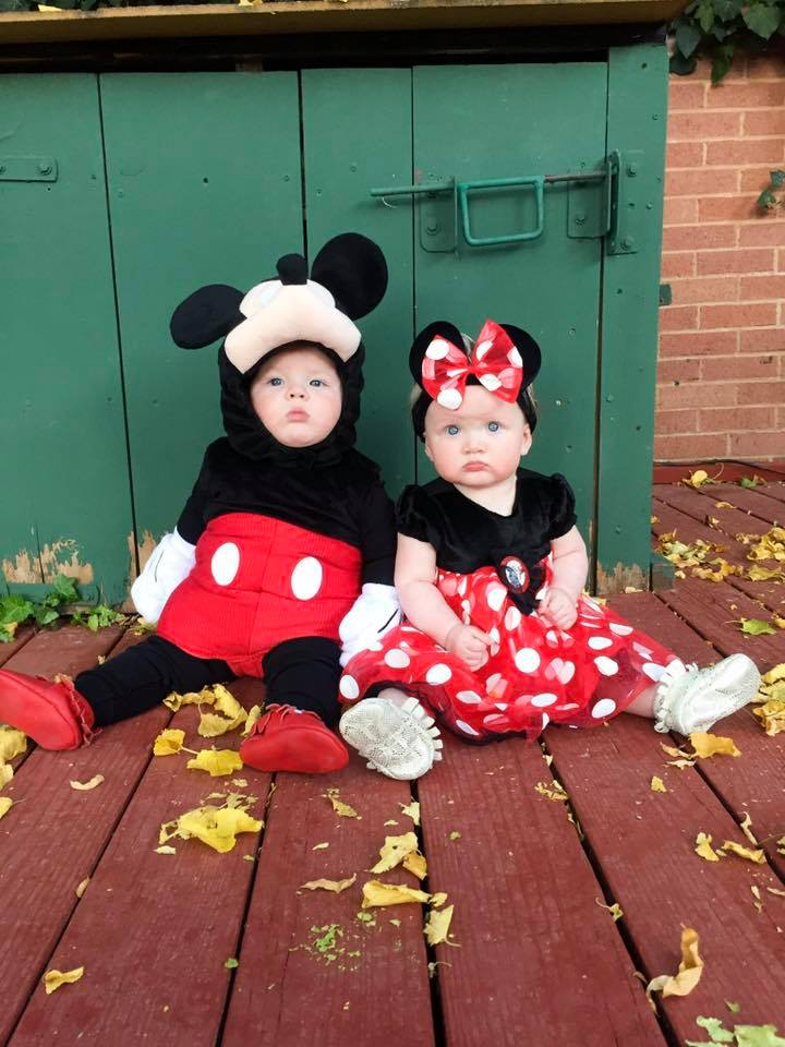 Mickey and Minnie baby Halloween costumes.