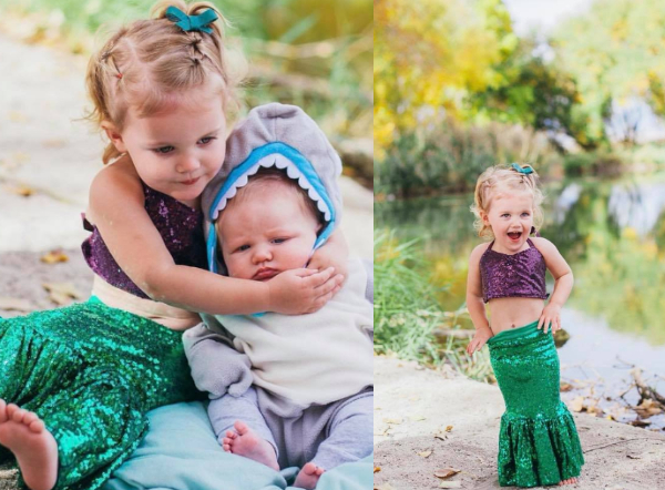 Collage of toddler girl wearing mermaid Halloween costume and baby boy wearing shark costume.