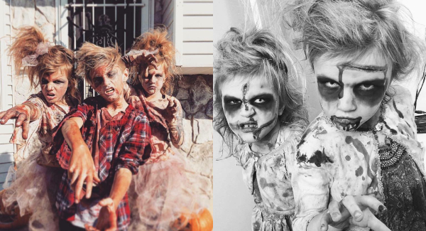 Collage of kids dressed up in zombie Halloween costumes.