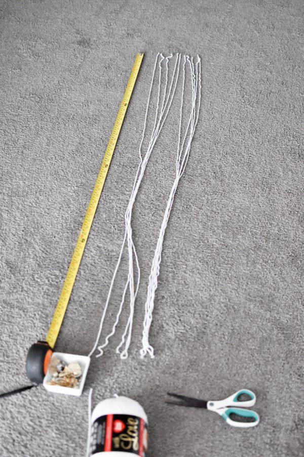 Tape measure and yarn for Elsa costume tutorial