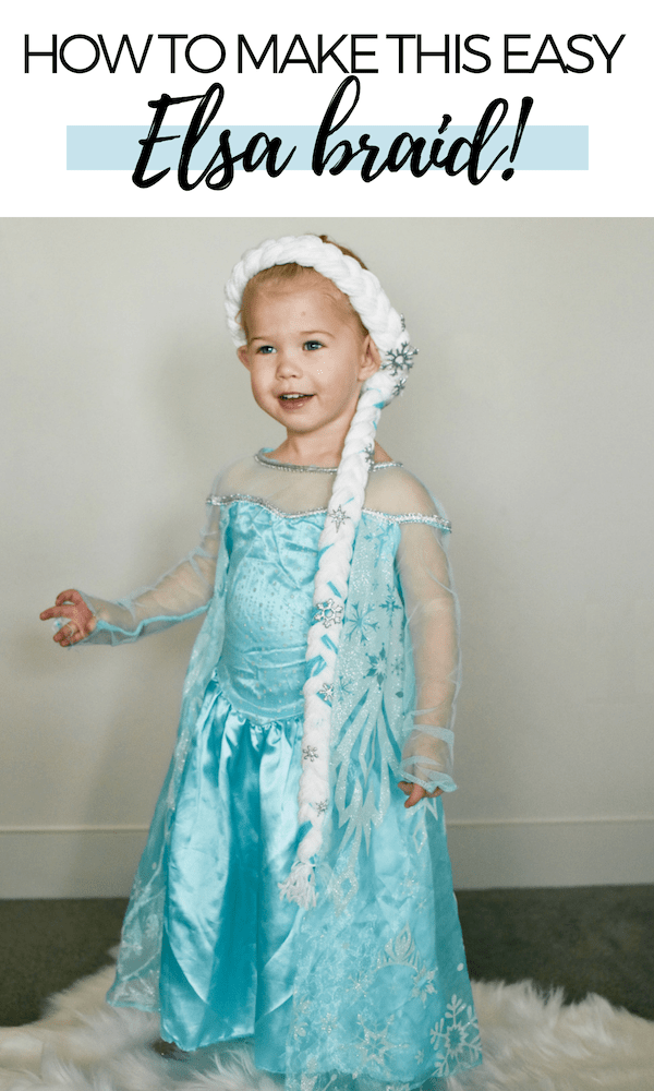 I share my step by step tutorial for making a DIY Elsa braid out of yarn! This is the perfect Frozen hairstyle for your little girl's Halloween costume!