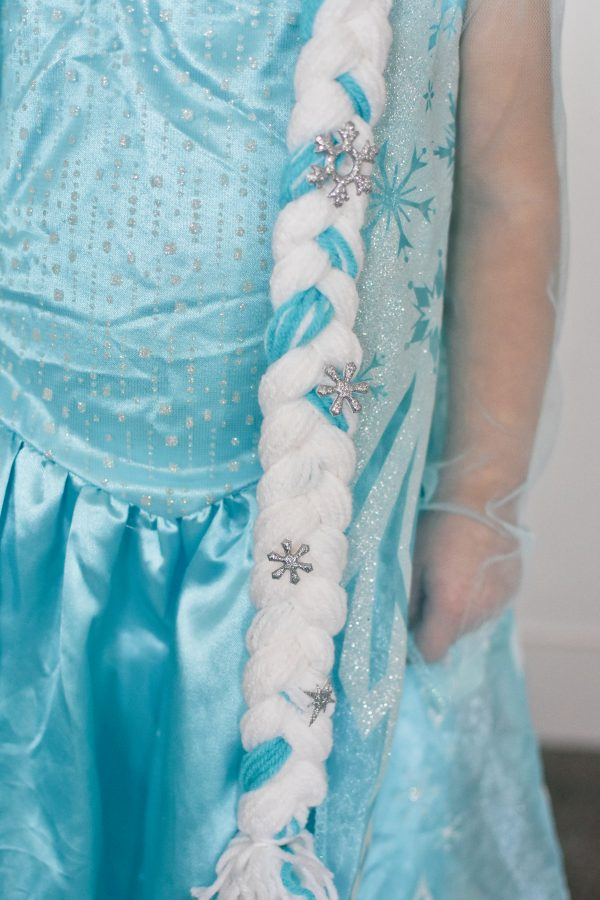 Elsa hairstyle with snowflake stickers