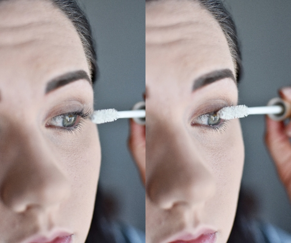 Woman applying mascara primer for an easy smokey eye tutorial