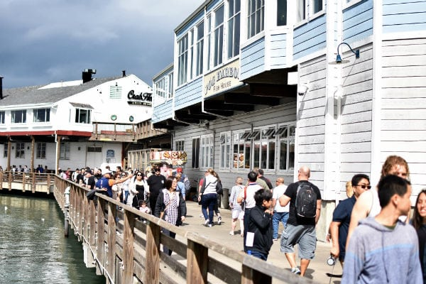 People in front of Pier 39 in San Francisco.