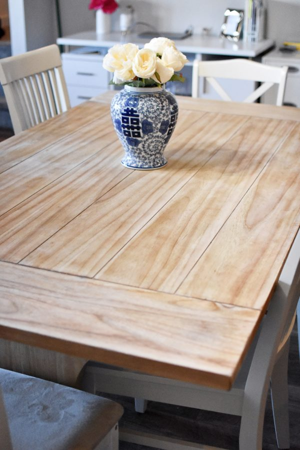 A refinished dining table top
