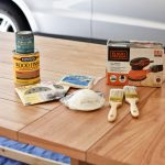 All of the supplies you need to refinish a table. Check out my beginner's guide to refinishing a table for more tips!