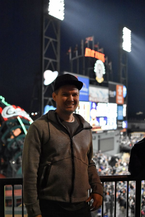 Man in front of AT&T Park