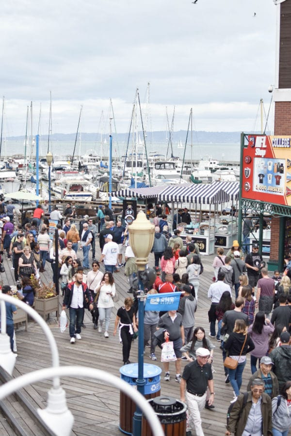 Crowds waling through Pier 39 in San Francisco