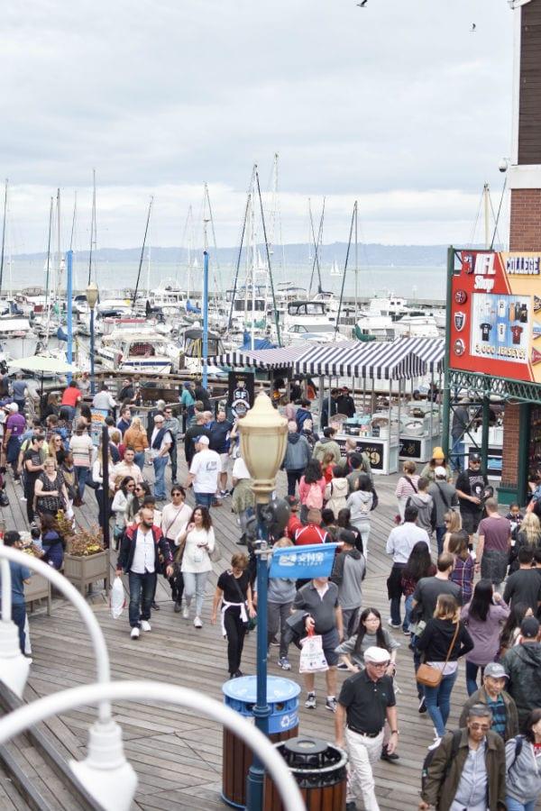 Crowds waling through Pier 39 in San Francisco