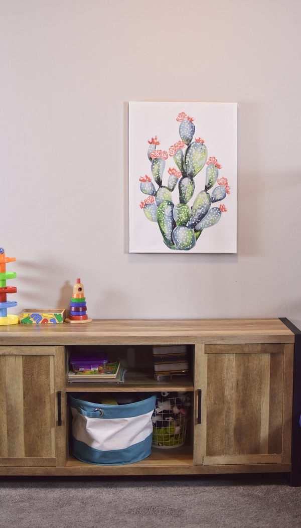 Cactus print in colorful playroom