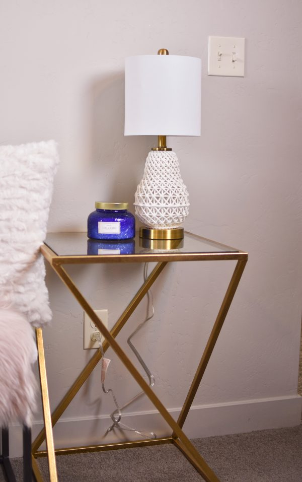 Gold side table, perfect for decorating on a budget
