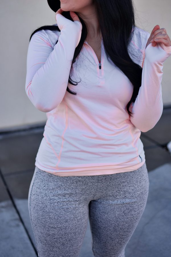 Woman shows off her athleisure clothing