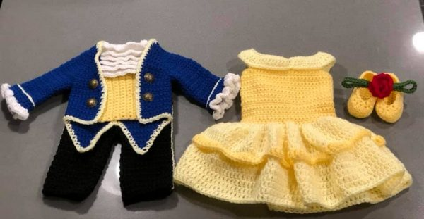 Beauty and the Beast crochet baby outfits.