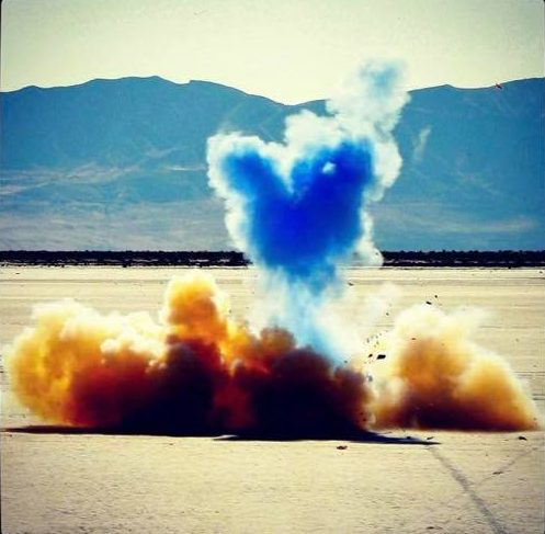 Blue colored powder heart for a gender reveal.
