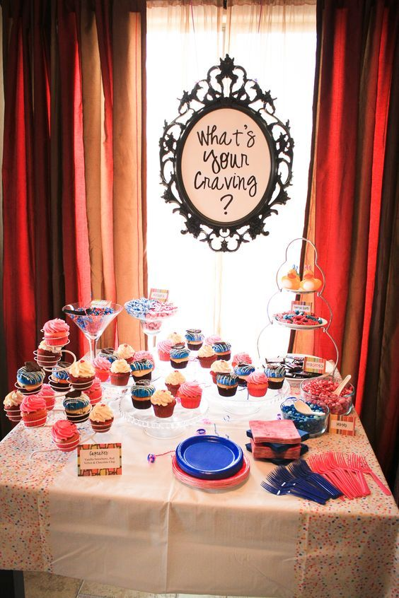 A dessert table from a gender reveal party.