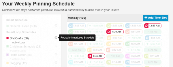 How to schedule pins on Tailwind