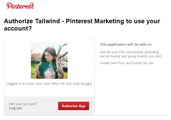 Pinterest authorization screen for Tailwind