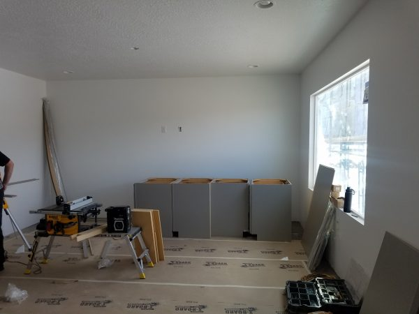 Cabinets read to install in a new house