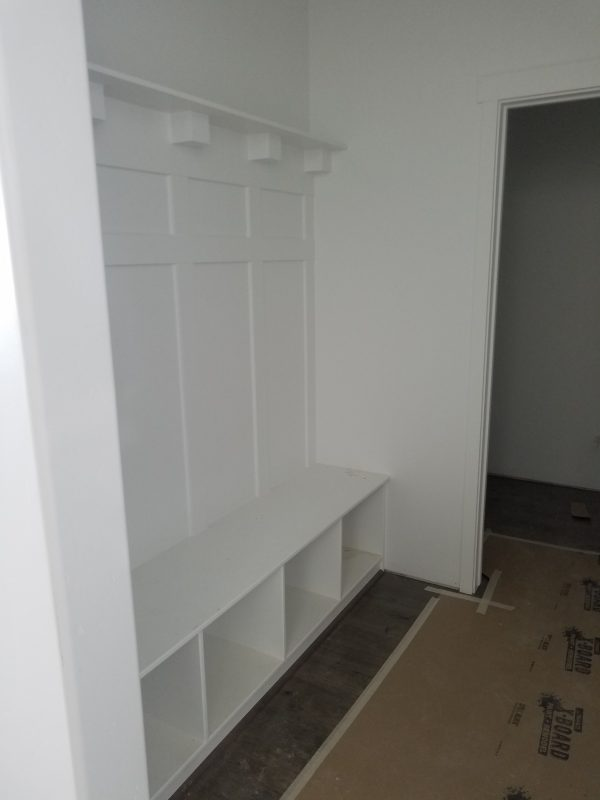 Built in mudroom in a new house