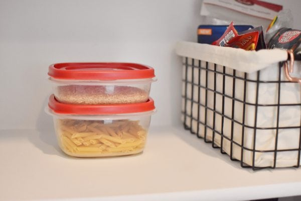 Rubbermaid Easy Find Lids make great storage for pantry items.