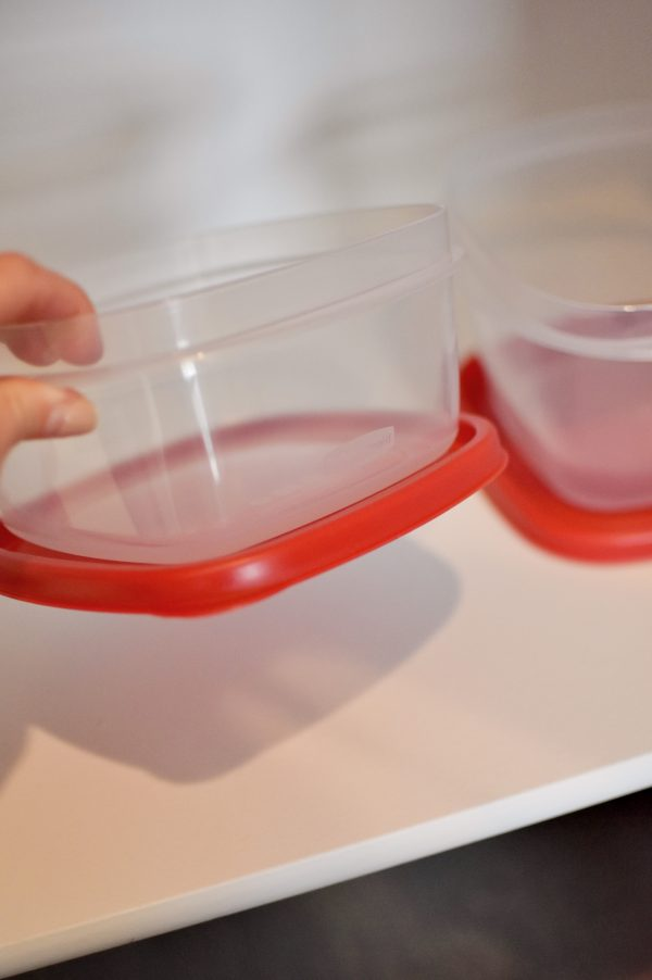 Rubbermaid plastic containers like these feature lids that lock to the base.