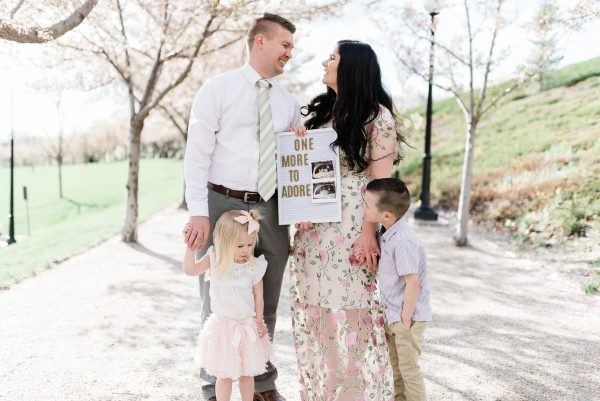 Family announces baby with a letter board.