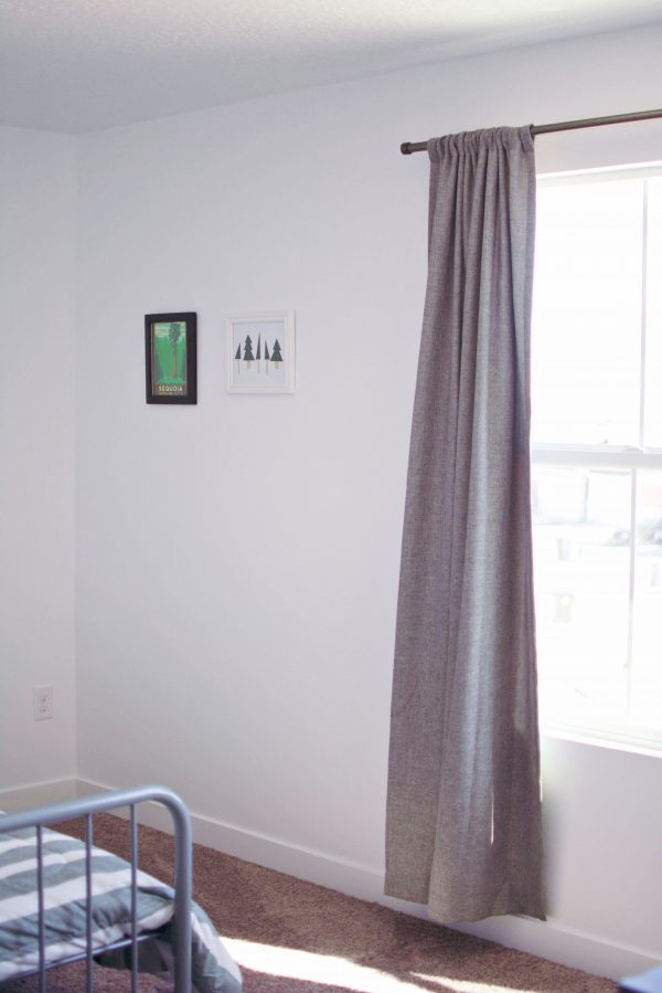 Gray curtains are an idea for a boys bedroom.